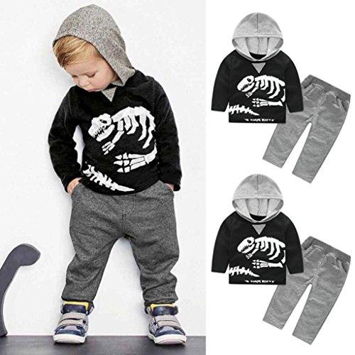 addbef866 Orangeskycn Long Sleeve Hoodie, Toddler Kids Baby Girls Boys Dinosaur Bones  Clothes Set Hooded Tops+Pants Outfit by (3T, Black)