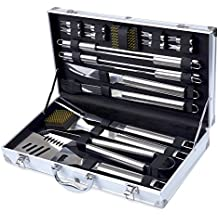 Kacebela BBQ Tools Set, 19-Piece Grill Tools set, Heavy Duty Stainless Steel Barbecue Grilling Utensils, Premium Grilling Accessories for Barbecue - Spatula, Tongs, Forks, and Basting Brush