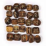 cosynee Healing Gemstone Rune Stones with Velvet Pouch (Tiger Eye)