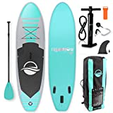 SereneLife Premium Inflatable Stand Up Paddle Board (6 Inches Thick) with SUP Accessories & Carrying Storage Bag   Wide Stance, Bottom Fin for Paddling, Surf Control, Non-Slip Deck   Youth & Adult