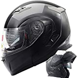 Orion Voyager Modular Flip-up Street Bike Cruiser Motorcycle Helmets with Drop-down Inner Sun Shield DOT (M, Gloss Black)