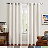 jinchan Off White Linen Cotton Curtains for Bedroom 84 Inches Length Window Treatments Drapes 2 Panels