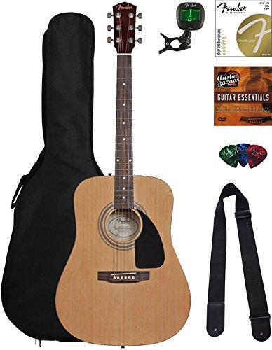 Fender Acoustic Guitar Bundle with Gig Bag, Tuner, Strings, Strap, Picks, Austin Bazaar Instructional DVD, and Polishing Cloth