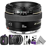 Canon EF 50mm f/1.4 USM Standard Telephoto Lens w/Advanced Photo and Travel Bundle - Includes: Altura Photo UV-CPL-ND4 Filter kit, Neoprene Lens Pouch, Camera Cleaning Set