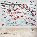 ONELZ Decor Collection, Red with Snow Tree Christmas Winter Berry Branch Drop Fall Flora Food Forest Bedroom Living Room Dorm Wall Hanging Tapestry 50' L x 60' W Polyester & Polyester Blend