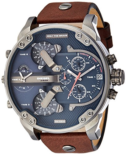 51JhZdX 9uL Large brushed stainless watch featuring round face with texture, branding, and multiple dials 66 mm stainless steel case with mineral dial window Quartz movement with analog display