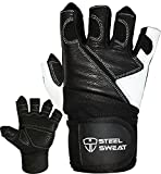Steel Sweat Weightlifting Gloves with 18-inch Wrist Wrap Support for Workout, Gym and Fitness Training - Best for Men and Women Who Love Weight Lifting - Leather ZED Black