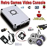 Raspberry Pi 3 based retro games emulation system retropie - 32GB edition with 2x snes type controllers and installed cooling fan