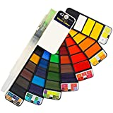 Watercolor Paint Set - 42 Assorted Colors, Professional Artist Travel Mini Portable Pocket Watercolor Field Sketch Set with 1 Water Brushes, Christmas Gift for Artist, Kids & Adults Outdoor Painting