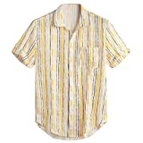 LUCAMORE Mens Short Sleeve Shirts Button Down Beach Summer Tops Stripe Chest Pocket Round Hem Loose Blouse Yellow