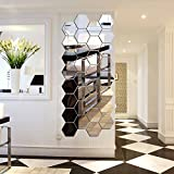 Hexagon Mirror, H2MTOOL 12 PCS 9cm Removable Acrylic Mirror Wall Stickers for Home Living Room Bedroom Decor (9cm, Silver)