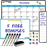 Magnetic Dry Erase Calendar Board for Fridge 17'x12'- Calendar Whiteboard for Refrigerator- Large Monthly Weekly White Board for Wall- Bonus My List, Inspiration Board-6 Dry Erase Markers-12 Magnetic