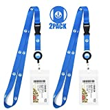 Cruise Lanyard & Key Card Holder [2-Pack] Retractable Reel & Detachable Waterproof ID Holder (Blue Anchor Design)