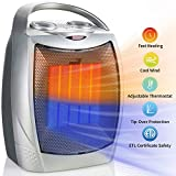 Brightown 750W/1500W Ceramic Space Heater, Electric Portable Room Heater with Adjustable Thermostat and overheat Protection for Home Bedroom or Office, ETL Listed