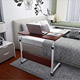 Multifunctional Lifting Mobile Computer Desk,Basde Stand Laptop Adjustable Height Table On Wheels for Bed and Sofa,Color: Red