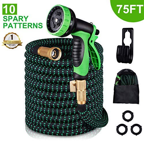 MONYAR Garden Hose Expandable Water Hose 75 Feet,Extra Strength/No-Kink Lightweight/Durable/Flexible/10 Function Spray Hose Nozzle 3/4 Solid Brass Connectors Garden Hose for Watering/Washing