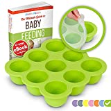 KIDDO FEEDO Baby Food Storage Container and Freezer Tray with Silicone Clip-On Lid - 9x2.5oz Easy-Out Portions - BPA Free/FDA Approved - Free eBook by Award-Winning Author/Dietitian - Green