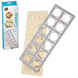 Ravioli Mold with Extra Large 1 3/4' Squares- Authentic Ravioli Tray and Press Makes 12 Italian Raviolis at a Once