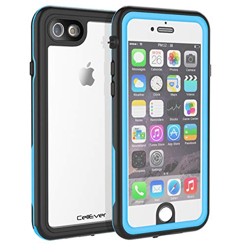CellEver iPhone 6 / 6s Clear Case Waterproof Shock Absorbing IP68 Certified SandProof Snowproof Full Body Protective Transparent Cover Fits Apple iPhone 6 and iPhone 6s (4.7') KZ Sky Blue