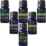 Radha Beauty Aromatherapy Top 6 Essential Oils 100% Pure & Therapeutic grade - Basic Sampler Gift Set & Premium Kit - 6/10 Ml (Lavender, Tea Tree, Eucalyptus, Lemongrass, Orange, Peppermint)