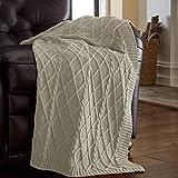 Amrapur Overseas 100% Cotton Oversized Cable Diamond Knit Throw, 50' x 70', Light Sand