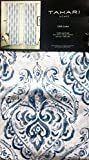 Tahari Window Panels Draperies Curtains Set of 2 Boho Floral Paisley Pattern in Shades of Blue and Gray on White 52 Inches by 84 Inches