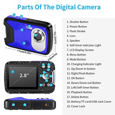 Pellor-Waterproof-Digital-Camera-28-FHD-1080P-80MP-CMOS-Sensor-21MP-Video-Recorder-Selfie-DV-Recording-Underwater-Camera-Camerater-for-Snorkeling-with-16G-SD-Card-Blue