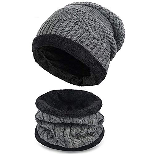 Gajraj 2-Pieces Winter Beanie Hat Neck Scarf Set Warm Knitted Fur Lined For Men & Women