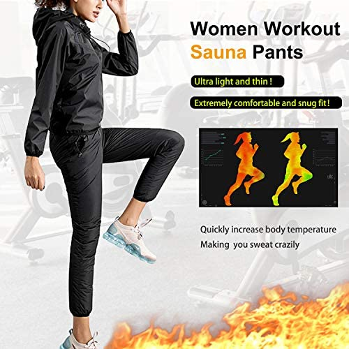 Junlan Sauna Suit for Women Sweat Sauna Pants Weight Loss Jacket Gym Workout Vest Sweat Suits for Women 3