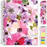 HARDCOVER Academic Year 2019-2020 Planner: (July 2019 Through July 2020) 8.5'x11' Daily Weekly Monthly Planner Yearly Agenda. Bonus Bookmark, Pocket Folder and Sticky Note Set (Spring Floral)