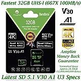 32GB Micro SD SDHC Memory Card Plus Adapter (Class 10 U1 UHS-I V30 A1 MicroSD HC Extreme Pro) Amplim 32 GB Ultra High Speed 667X 100MB/s UHS-1. Cell Phone, Tablet, Camera TF MicroSDHC Flash