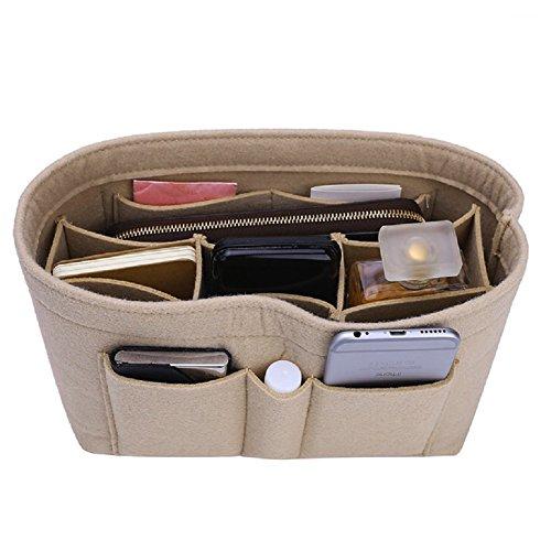 Felt Insert Bag Organizer Bag In Bag For Handbag Purse Organizer, Six Color Three Size Medium Large X-Large (Large, Beige)
