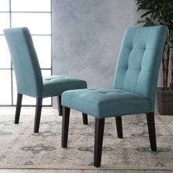 Christopher Knight Home Bronson Teal Fabric Dining Chair (Set of 2), 2-Pcs Set