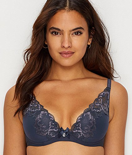 71T90WWBdkL Look beautiful in this contour underwire lace bra 4 columns, 1 row hook and eye back closure Columns and rows increase with size