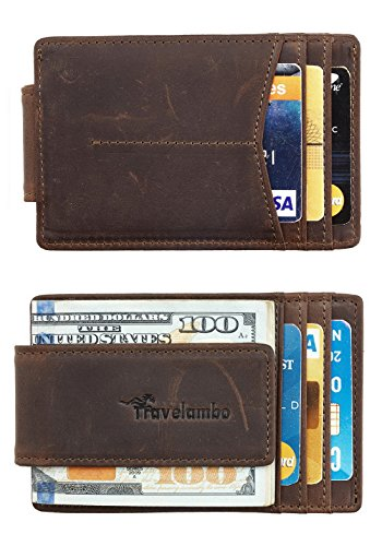 Travelambo Money Clip Front Pocket Wallet Slim Minimalist Wallet RFID Blocking (elite coffee)