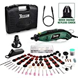 Upgraded Rotary Tool TECCPO 8,000-35,000RPM, Universal Keyless Chuck, Flex shaft, Cutting Guide, Auxiliary Handle 84 Accessories & Attachments, Multi-Functional for Around-the-House Crafting Projects