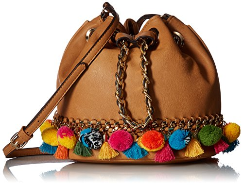 51K2dHUivvL Small novelty bucket bag with mini pom pom Chain and tassel details.