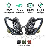 Wireless Bluetooth Sport Earbuds for Running, Workouts, and Exercise, HiFi Stereo, IPX7 Waterproof Headphones with Mic and Noise Cancelling, Best 8 Hour Battery Life