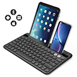 Multi-device Bluetooth keyboard, Jelly Comb Rechargeable Wireless Bluetooth Keyboard Switch to 2 Devices for Cellphone, Tablet, PC, Smart TV, Macbook iOS Android Windows-B046 (Black)
