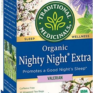 Traditional Medicinals Nighty Night Valerian, Naturally Caffeine Free Herbal Tea for Sleep Support, 16 CT (Pack – 2)
