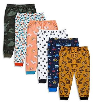 Minicult Cotton Baby Pajama Pants Unisex with Rib (Pack of 6) (Assorted Prints Will BE Sent)