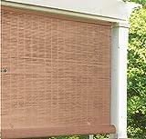 LH Lewis Hyman 3320136 36' W x 72' L Cordless Woodgrain PVC Roll Up Patio Blinds - Quantity 2