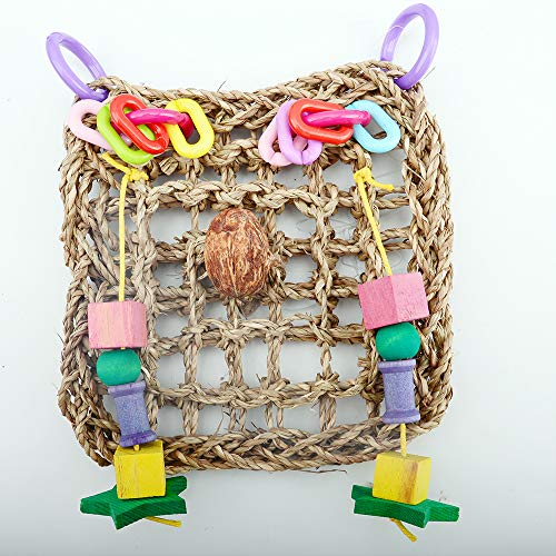 Bird Parrot Toys, Bird Seagrass Foraging Wall Toys Hanging - Woven Mat Safe Swing Chew Ladder Toys for Conure, Parakeets, Mynah, Cockatiel, Macow, Coconut Bird, Love Birds