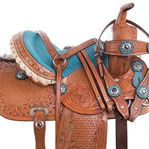 "Acerugs 10"" 12"" 13"" 14″ Youth Size Western Show Barrel Racing Children Kids Pony Horse Saddle TACK Set Premium Leather"