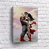 Buy4Wall Superman and Wonder Woman Kissing Romance Wall Art Canvas Print his Girlfriend Comics Super Hero Home Decor Decoration Stretched and Ready to Hang -%100 Hanmade in The USA - 17x11