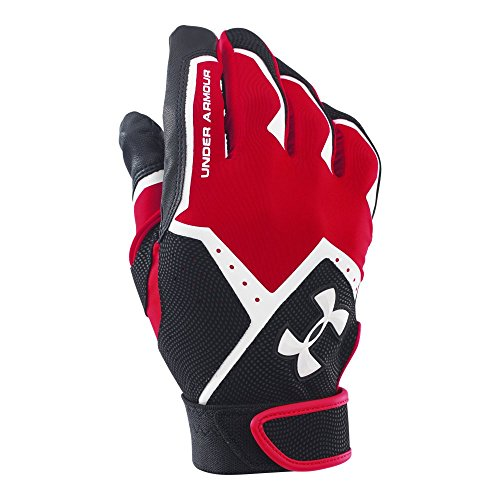 Under Armour Boys' Clean-Up VI Baseball Batting Gloves,Red (600)/White,Youth Large
