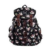 Douguyan Lightweight Backpack for Teen Young Girls Cute Backpack Print Rucksack Black 163