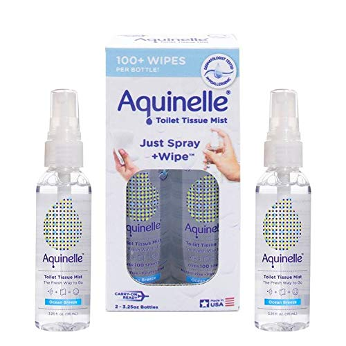 Aquinelle Toilet Tissue Mist Gift Set, Eco-Friendly & Non-Clogging Alternative to Flushable Wipes Simply Spray On Any Folded Toilet Paper (2 Pack Ocean Breeze 3.25 oz)