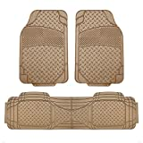 FH Group FH-F11307 Semi Custom Trimmable Heavy Duty Rubber Floor Mats Front & Rear - 3pc Set Tan