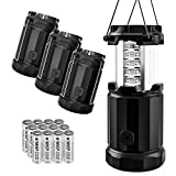 Etekcity 2 Pack & 4 Pack Portable LED Camping Lantern Flashlights with AA Batteries- Survival Lights for Emergency, Hurricane, Power Outage (Black, Collapsible) (4 Pack)